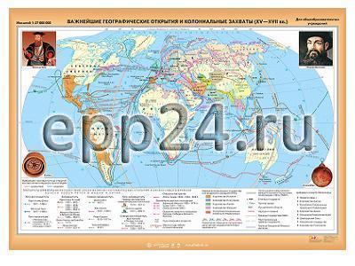 Карта Важнейшие географические открытия и колониальные захваты