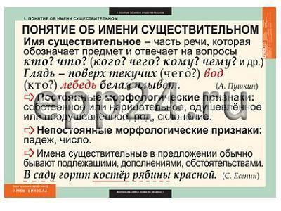 Комплект таблиц Русский язык. Имя существительное (7 шт.)