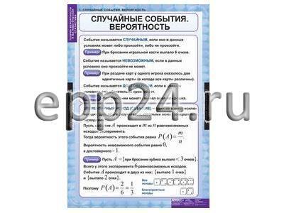 Комплект таблиц Теория вероятностей и математическая статистика (6 шт.)
