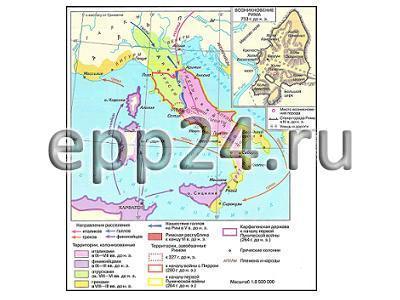 Карта Древняя Италия до сер. III в. до н.э.