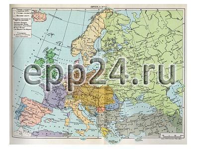 Карта Европа в 50-60 годах XIX века