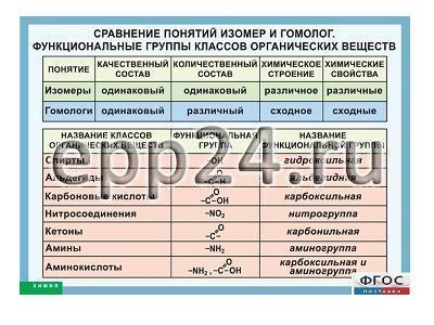 Таблица Сравнение понятий изомер и гомолог 70х100 винил